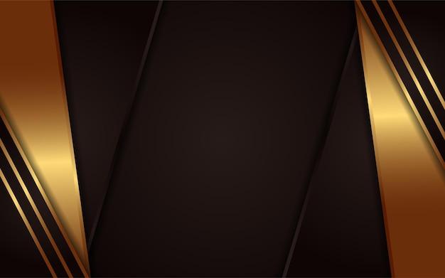 Fundo escuro abstrato com elemento de linhas douradas simples