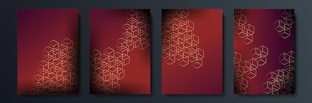 Fundo escuro abstrato com forma geométrica e combinação de elementos dourados