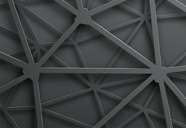 Fundo escuro abstrato com padrão de teia de aranha de linhas de metal com interseção.