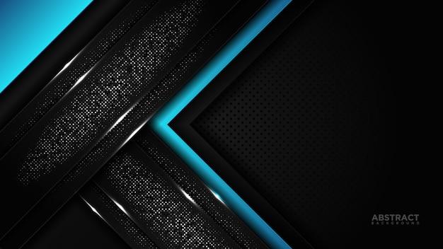 Fundo escuro abstrato da camada de sobreposição. brilho de luz geométrico com padrão de meio-tom