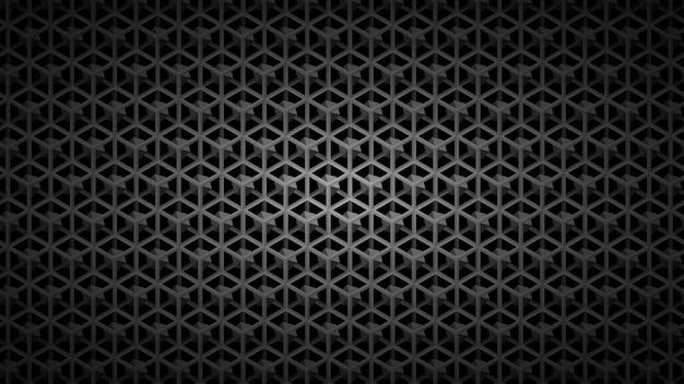 Fundo escuro abstrato da grade isométrica com cubos em tons de preto e cinza.