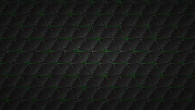 Fundo escuro abstrato de azulejos triangulares pretos com lacunas verdes entre eles