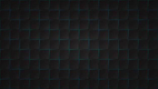 Fundo escuro abstrato de ladrilhos quadrados pretos com lacunas em azul claro entre eles