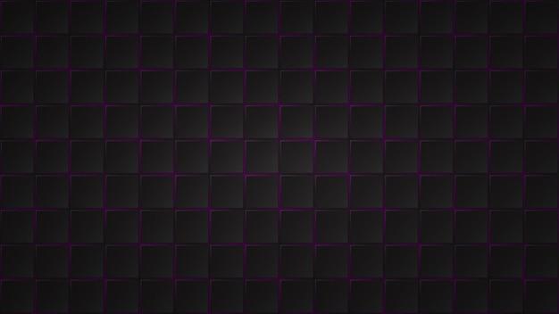 Fundo escuro abstrato de ladrilhos quadrados pretos com lacunas roxas entre eles