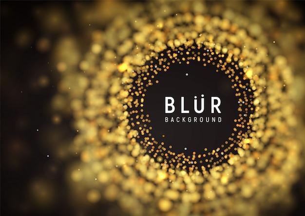 Fundo escuro abstrato de luxo turva. partículas de explosão dourada com efeito de desfoque com espaço vazio. ilustração vetorial
