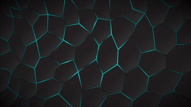 Fundo escuro abstrato de polígonos em cores azuis claras