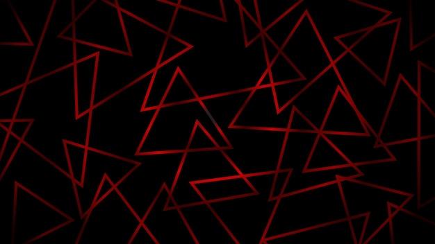 Fundo escuro abstrato de triângulos que se cruzam em cores vermelhas