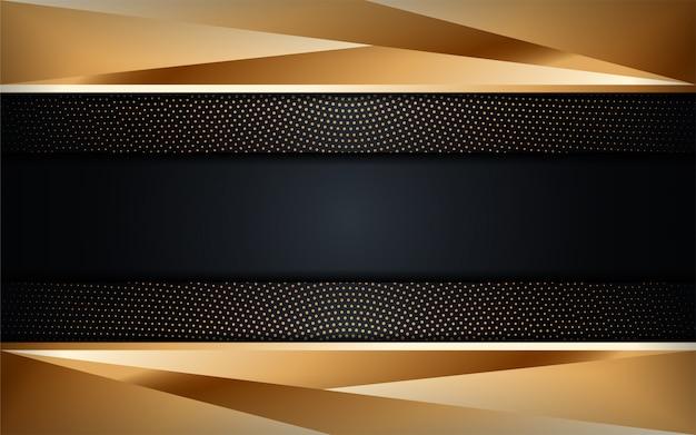 Fundo escuro abstrato luxo com combinações de linhas douradas. fundo futurista moderno
