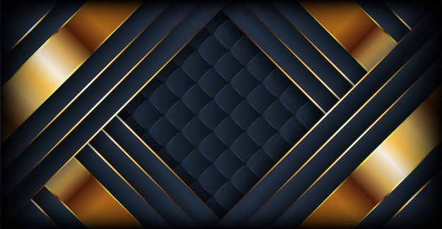 Fundo escuro abstrato luxo com linhas douradas