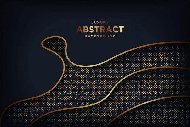 Fundo escuro abstrato luxo com uma combinação de pontos dourados brilhantes.