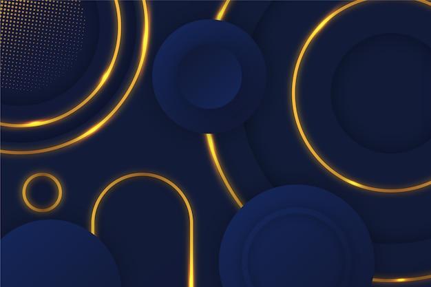 Fundo escuro circular detalhes dourados