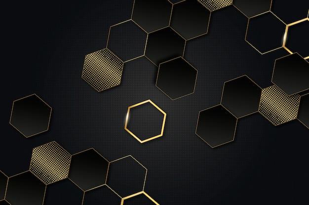 Fundo escuro com conceito de detalhes dourados