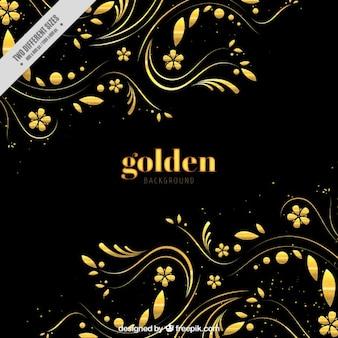Fundo escuro com decoração floral dourada