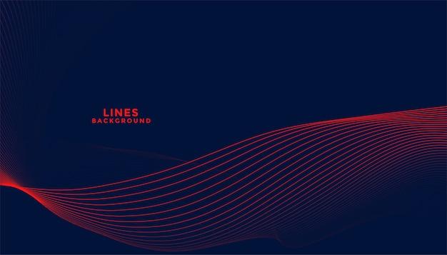 Fundo escuro com design de linhas onduladas fluidas em vermelho