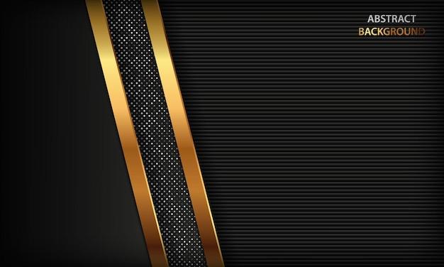 Fundo escuro com formas abstratas douradas e brilho prateado