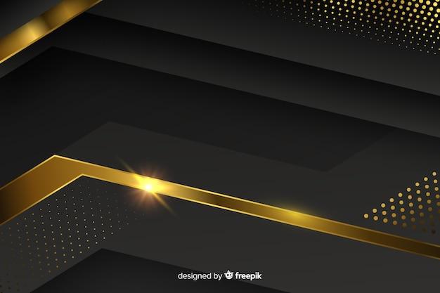 Fundo escuro com formas abstratas douradas