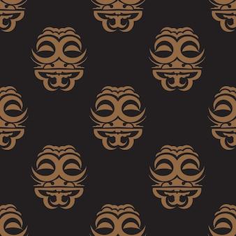 Fundo escuro com máscaras das tribos polinésias.