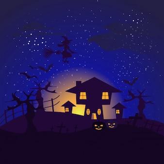 Fundo escuro com morcegos voando de casa de halloween