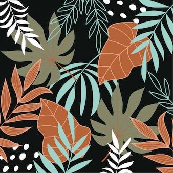 Fundo escuro com plantas e folhas tropicais