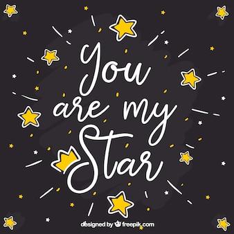 Fundo escuro criativo da estrela com letras