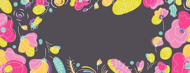 Fundo escuro da página da web da capa sazonal floral verão. canteiro de flores com cores neon brilhantes. fundo escuro
