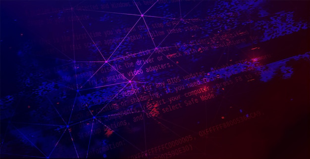 Fundo escuro da tecnologia abstrata. conceito de ataque cibernético, ransomware e malware