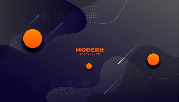 Fundo escuro de estilo fluido moderno com círculos laranja