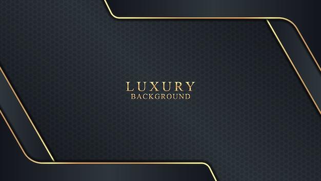 Fundo escuro de luxo abstrato combinado com elemento de moldura dourada
