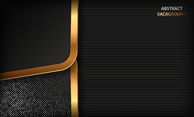 Fundo escuro de luxo com formas douradas e elementos de pontos prateados