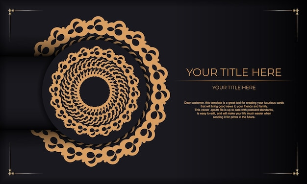 Fundo escuro de luxo com ornamentos indianos. elementos elegantes e clássicos prontos para impressão e tipografia.