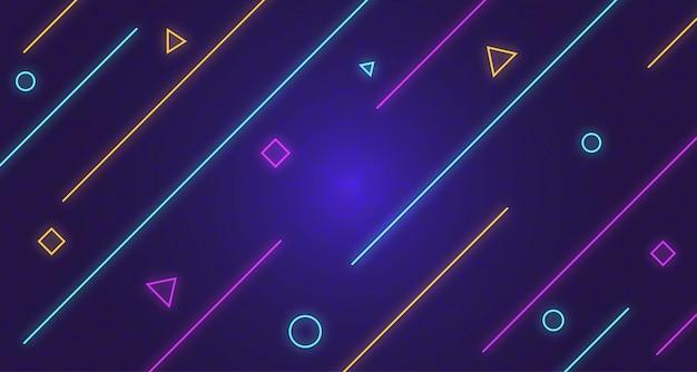 Fundo escuro de memphis com brilho de néon de linha