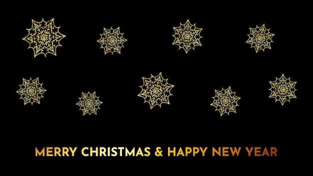 Fundo escuro de natal com flocos de neve glitter dourados. decoração do feriado do floco de neve de ano novo. ilustração vetorial