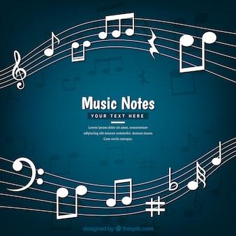 Fundo escuro de pentagrama com notas musicais