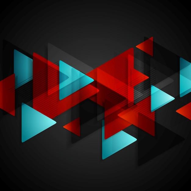 Fundo escuro de tecnologia com triângulos azuis vermelhos. desenho vetorial