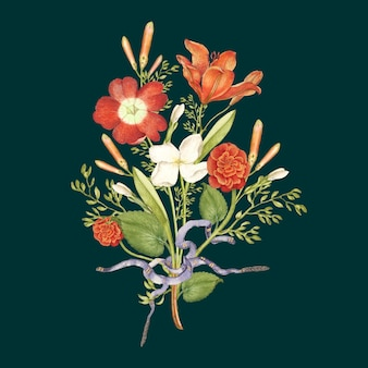 Fundo escuro do buquê de flores silvestres vermelhas