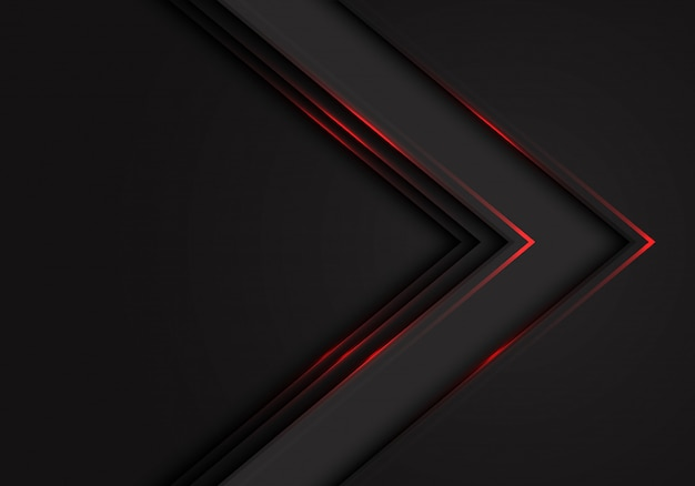 Fundo escuro do espaço vazio do sentido preto da seta da luz vermelha.