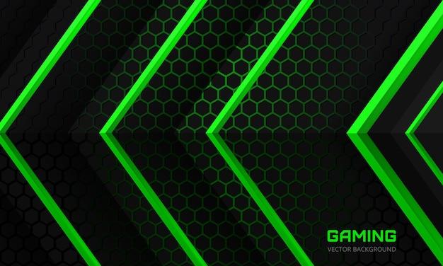 Fundo escuro do jogo com setas verdes em uma grade hexagonal escura e abstrata