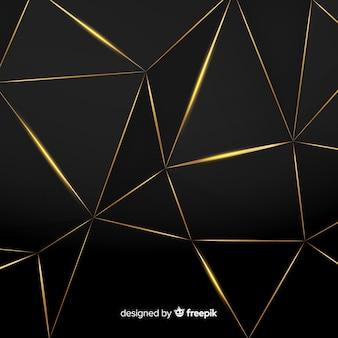 Fundo escuro e dourado poligonal