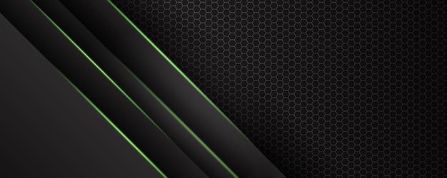 Fundo escuro e verde abstrato moderno com linha de luz e efeito brilhante