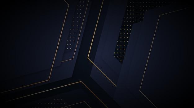 Fundo escuro elegante com conceito de detalhes de ouro