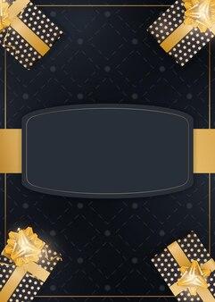 Fundo escuro festivo com presentes e lugar para texto. caixas de presente realistas com fitas de ouro e arco. vista de cima. ilustração vetorial.
