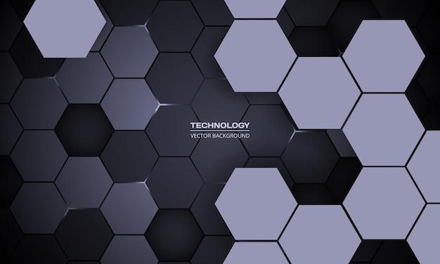 Fundo escuro hexagonal abstrato d tecnologia com flashes de energia branca sob o hexágono