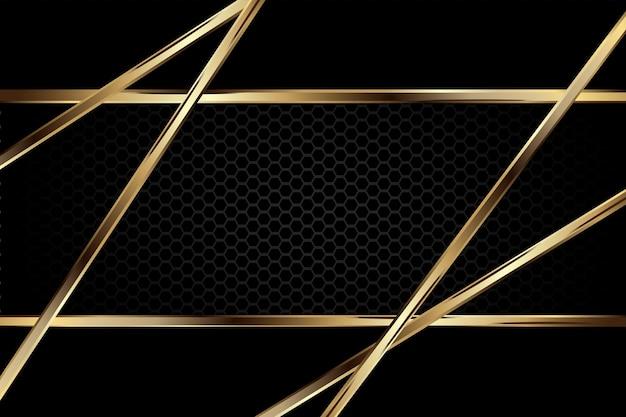 Fundo escuro luxuoso com textura de carbono e contorno dourado