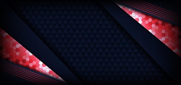 Fundo escuro moderno abstrato azul e vermelho bandeira futurista