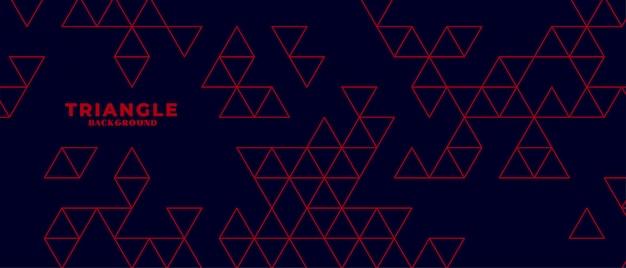 Fundo escuro moderno com padrão de triângulo vermelho