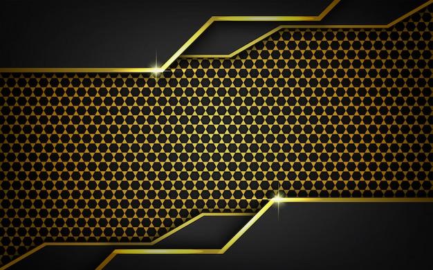 Fundo escuro moderno com padrão ouro geométrico