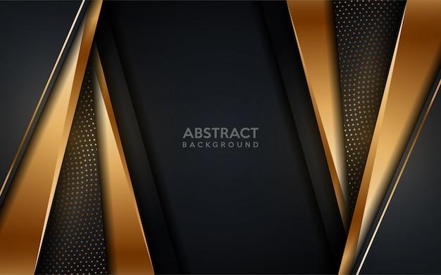 Fundo escuro moderno dourado brilhante com elemento de pontos de ouro.