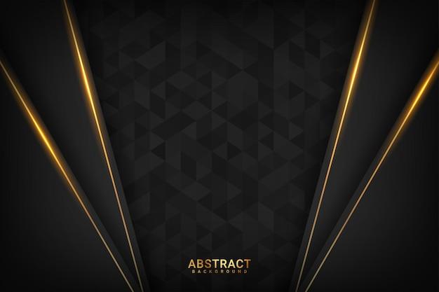 Fundo escuro premium com luxuosos elementos geométricos dourados escuros