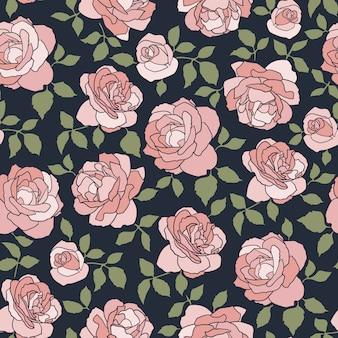 Fundo escuro sem costura, com rosas de luz