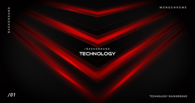 Fundo escuro tecnologia com linhas vermelhas brilhantes